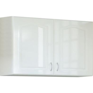 Meuble haut de cuisine style contemporain  2 portes coloris blanc Façade bois MDF blanc mat avec moulure + Caisson en panneaux de particules  L. 100 x P. 30 x H. 72 cm collection Dingman