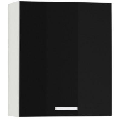 Meuble haut de cuisine design 1 porte coloris blanc mat et noir laqué L. 60 x P. 30 x H. 72 cm collection Bayton