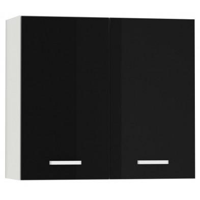 Meuble haut de cuisine design 2 portes coloris blanc mat et noir laqué L. 80 x P. 30 x H. 72 cm collection Bayton