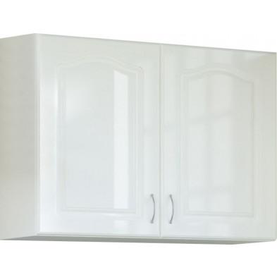Meuble haut de cuisine style contemporain 2 portes coloris blanc  L. 80 x P. 30 x H. 72 cm collection Dingman
