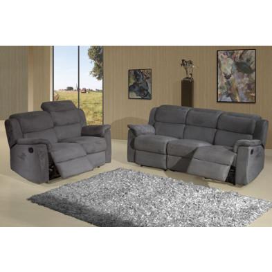 Canapé  relax gris contemporain en tissu 2 places L. 148 x P. 95 x H. 87 cm  collection Donim