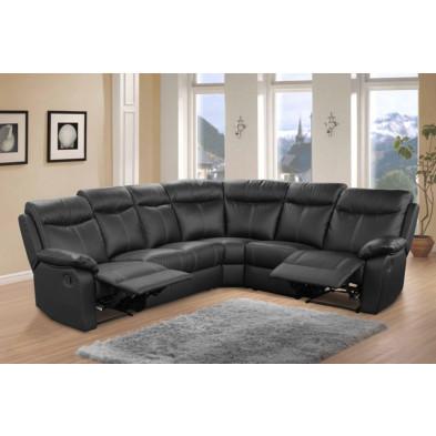Canapé d'angle noir contemporain en bois massif  6 places L. 275 x P. 225 x H. 102 cm  collection Sernhin