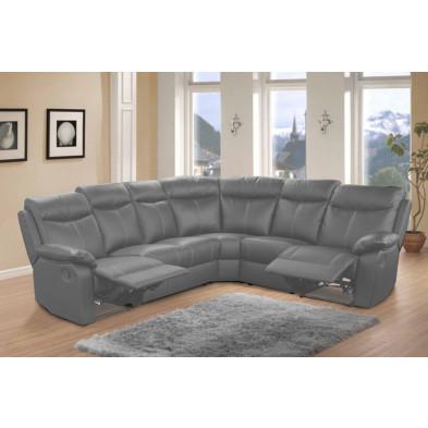 Canapé d'angle gris contemporain en  cuir 6 places L. 275 x P. 225 x H. 102 cm collection Omit