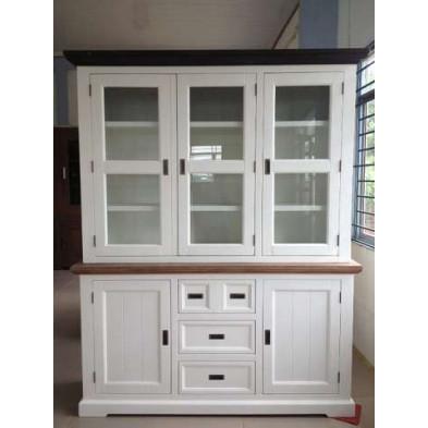 Argentier - vaisselier - vitrine en bois massif blanc contemporain  L. 167 x P. 47 x H. 210 cm collection Invite