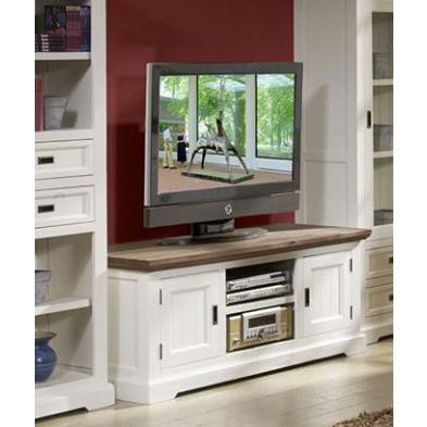 Ensemble meuble tv blanc contemporain en bois massif acacia collection Invite