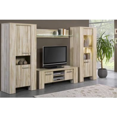 Ensemble meuble tv marron contemporain en panneaux de particules  L. 314 x P. 48 cm collection Iserlohn