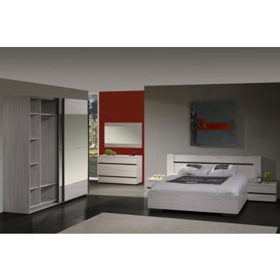 Pack chambre à coucher adulte contemporain gris en panneaux de particules et décors papier 140 x 200 cm Collection Uria