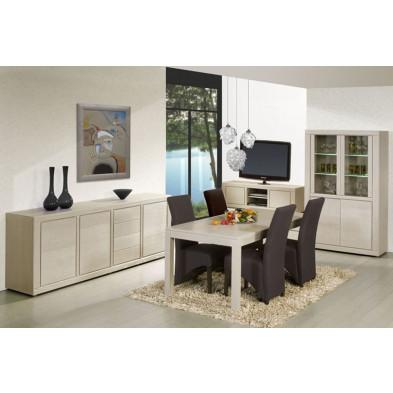 Salle à manger complète contemporaine blanc et chêne en bois massif chêne et panneaux de particules Collection Ciminna