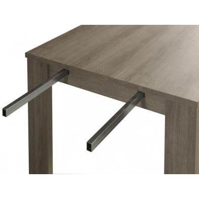 Table extensible marron contemporain en panneaux de particules  L. 190-240 x P. 88. x H. 75 cm collection Sohier
