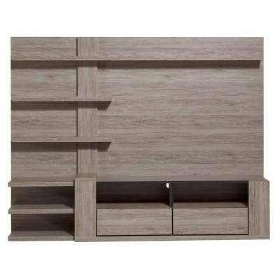 Ensemble meuble tv gris contemporain  L. 218 x P. 50 x H. 170 cm collection Vanhoute