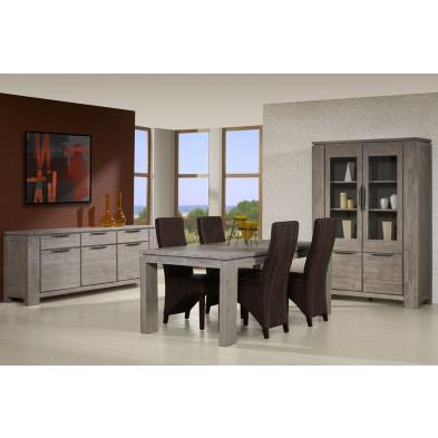 Argentier - vaisselier - vitrine  gris contemporain en bois massif L. 137 x P. 45 x H. 196 cm   collection Orrnys