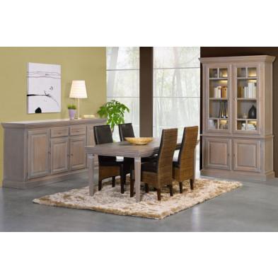 Argentier - vaisselier - vitrine en bois massif gris classique L. 133 x P. 52 x H. 223 cm collection Dokkum
