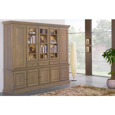 Argentier - vaisselier - vitrine gris classique en bois massif L. 300 x P. 50 x H. 237 cm collection Schafer