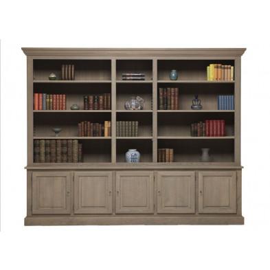 Argentier - vaisselier - vitrine gris classique en bois massif  L. 300 x P. 50 x H. 237 cm collection Dokkum