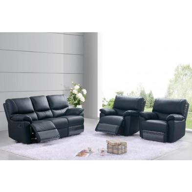 Canapé relax noir contemporain en cuir 2 places L. 144 x P. 93 x H. 100 cm collection Albairate