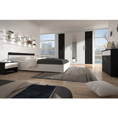 Chambre adulte complète noir moderne en panneaux de particules de haute qualité collection Tencate