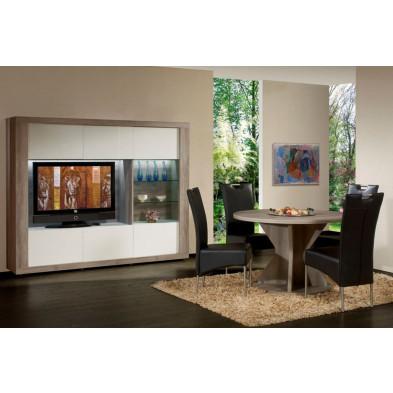 Meuble tv blanc contemporain en panneaux de particules L. 224 x P. 43 x H. 178 cm  collection Veurne