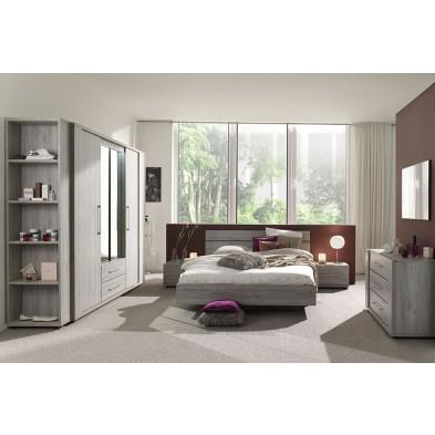 Pack chambre à coucher adulte contemporain gris en panneaux de particules et décors papier 140 x 200 cm Collection Paste