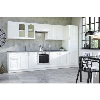 Composition cuisine équipée contemporaine coloris blanc collection Dingman