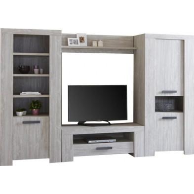 Ensemble meuble tv gris contemporain en panneaux de particules de haute qualité collection Bornheim