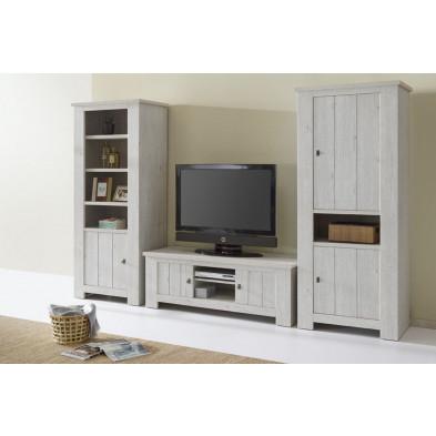 Meuble tv design gris contemporain en bois mdf L. 150 x P. 48 x H. 52 cm collection Gresham