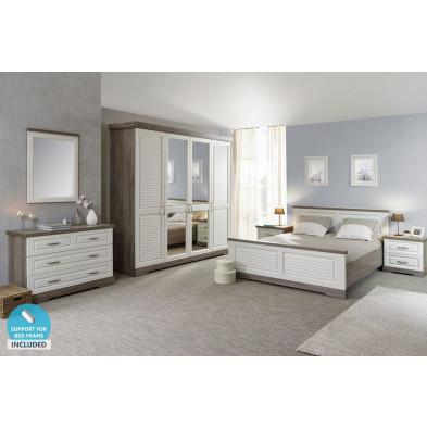 Pack chambre à coucher adulte contemporain blanc en panneaux de particules de haute qualité Collection Quan