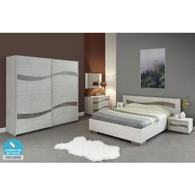 Pack chambre à coucher adulte contemporaine gris en panneaux de particules de haute qualité Collection Maarben