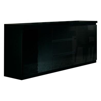 Buffet - bahut - enfilade noir design en panneaux de particules de haute qualité L. 165 x P. 50 x H. 83 cm collection Jorna