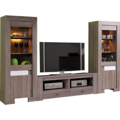 Salon blanc design en panneau de particules de haute qualité L. 290 CM x P. 52 CM x H. 190 CM cm collection Possessive
