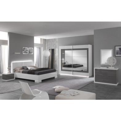 Packs chambre à coucher adulte blanc design en 160 x 200 cm collection Anapaola