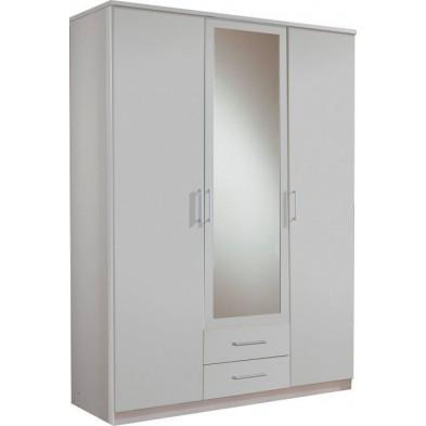 Armoire adulte blanc contemporain L. 135 x P. 58 x H. 199 cm collection Lever