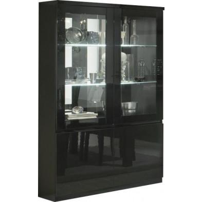 Vitrine noir design en panneaux de particules de haute qualité L. 115 x P. 40 x H. 191 cm collection Jorna