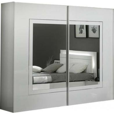 Armoire porte coulissante blanc design L. 200 x P. 63 x H. 210 cm collection Nomi