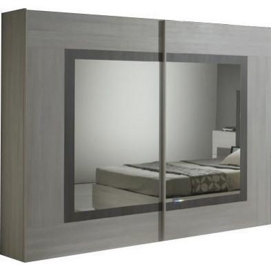 Armoire porte coulissante marron design L. 200 x P. 63 x H. 210 cm collection Nomi
