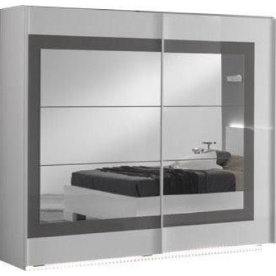 Armoire porte coulissante blanc design en panneaux de particules en finitions laquées L. 240 x P. 63 x H. 210 cm collection Anapaola