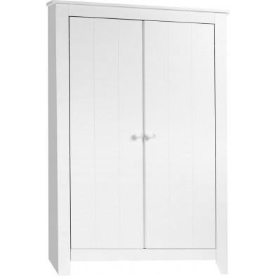 Armoire classique pour bébé en bois MDF et panneaux de particules de haute qualité blanc L. 118 x P. 63 x H. 187 cm Collection Hattan