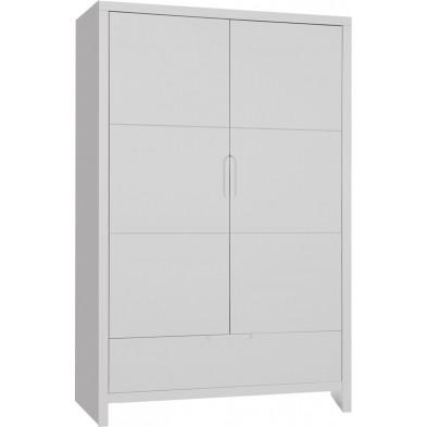 Armoire enfant classique blanc en bois mdf et panneaux de particules de haute qualité L. 110 x P. 58 x H. 185 cm Collection Dumoulin