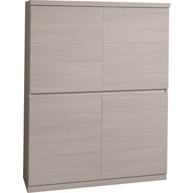 Argentier - meuble bar contemporain beige design L. 130 x H. 130 cm collection Siem