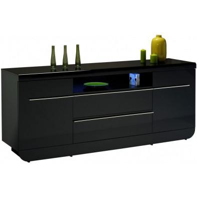 Buffet - bahut - enfilade noir design en bois mdf L. 200 x P. 51 x H. 86 cm collection Schimmel