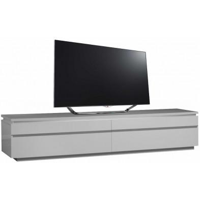 Meuble tv blanc design en panneaux de particules de haute qualité L. 220 x P. 50 x H. 45 cm collection Mcnally
