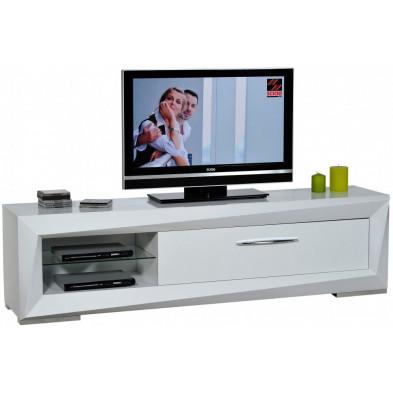 Meuble tv blanc design en panneaux de particules de haute qualité L. 200 x P. 45 x H. 54 cm collection Gamizfika