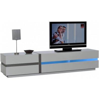 Meuble tv blanc design en panneaux de particules de haute qualité L. 220 x P. 50 x H. 47 cm  collection Meulemans