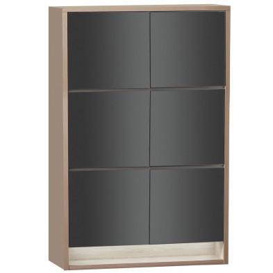 Rangement marron moderne en panneaux de particules de haute qualité L. 129 x P. 48 x H. 207,3 cm collection Bartels