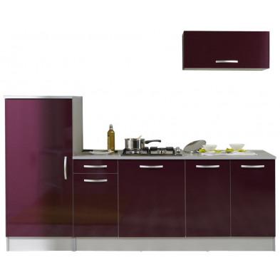 Ensemble cuisine moderne coloris aubergine laqué L. 240 x P. 60 x H. 205 cm collection Bradenton