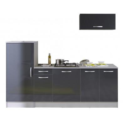 Ensemble cuisine moderne coloris gris laqué L. 240 x P. 60 x H. 205 cm  collection Bradenton