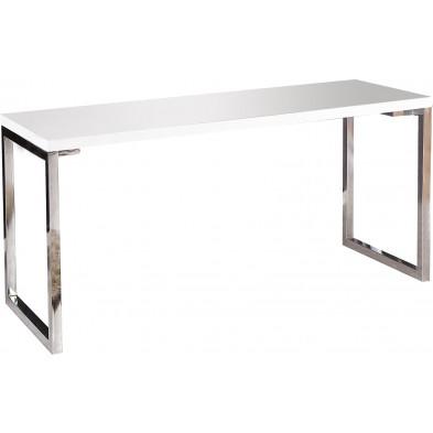 Bureau Design rectangle blanc laqué 140 cm collection Hidalgo