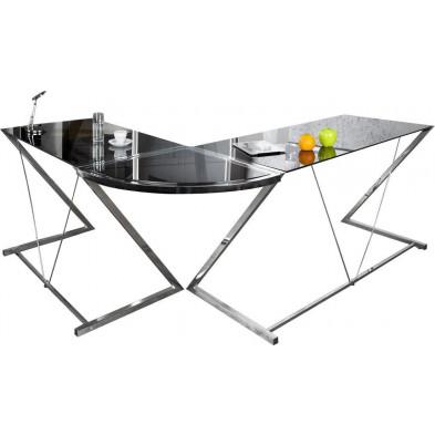 Bureau d'angle Design noir en verre et métal chromé L. 60 x H. 75 cm collection Starston