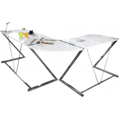 Bureau d'angle blanc Design 140 cm en MDF laqué et métal collection Seattle