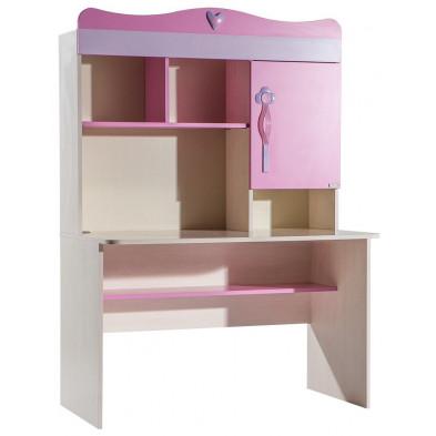 Bureau enfant rose moderne en panneaux de particules mélaminés de haute qualité 121 cm de largeur collection Enang