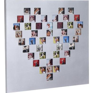 Cadre photo mural carré en forme de cœur L. 60 x P. 2 x H. 60 cm collection Rus